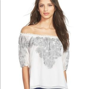 For love and lemons Sicily white floral top S